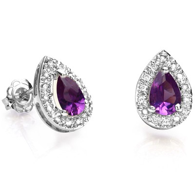 ELEGANT LAB ALEXANDRITE DOUBLE WHITE DIAMOND 0.925 STERLING SILVER W/ PLATINUM EARRINGS