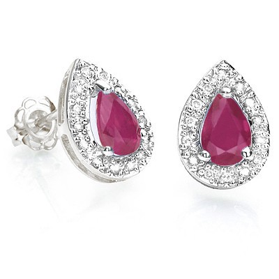 MARVELOUS GENUINE BURGUNDY RUBY DOUBLE WHITE DIAMOND 0.925 STERLING SILVER W/ PLATINUM EARRINGS