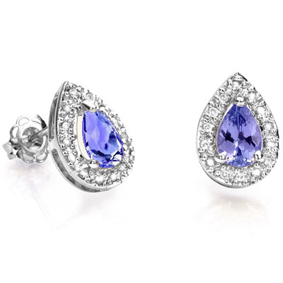 ASTONISHING 0.70 CT GENUINE TANZANITE WITH DOUBLE GENUINE DIAMONDS 0.925 STERLING SILVER W/ PLATINUM EARRINGS