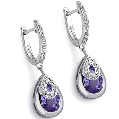 ELEGANT 2.47 CT AMETHYST DOUBLE WHITE DIAMOND 0.925 STERLING SILVER W/ PLATINUM EARRINGS