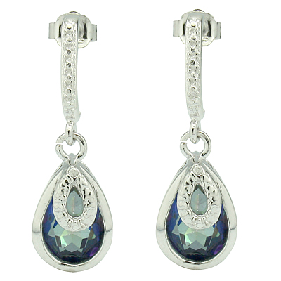 ALLURING 3.91CT BLUE MYSTIC GEMSTONE & GENUINE DIAMOND PLATINUM OVER 0.925 STERLING SILVER EARRINGS