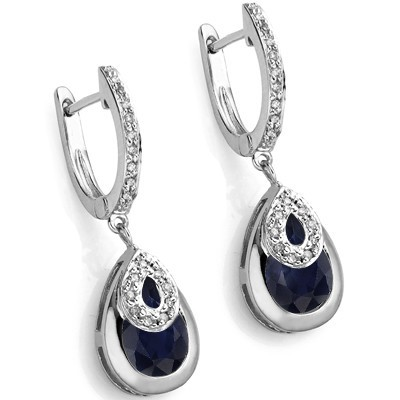 UNFORGETABLE 6.26 CT BLACK SAPPHIRE DOUBLE WHITE DIAMOND 0.925 STERLING SILVER W/ PLATINUM EARRINGS