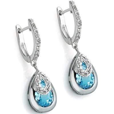 DAZZLING 6.26 CT BLUE TOPAZ DOUBLE WHITE DIAMOND 0.925 STERLING SILVER W/ PLATINUM EARRINGS