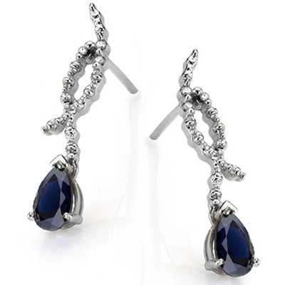 ASTONISHING 1.00 CT GENUINE SAPPHIRE & DOUBLE WHITE DIAMOND 0.925 STERLING SILVER W/ PLATINUM EARRINGS