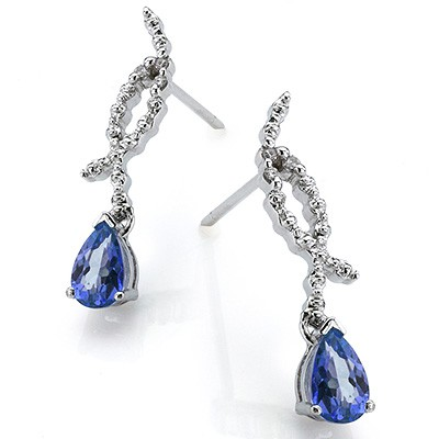 FASCINATING 0.71 CT GENUINE TANZANITE DOUBLE WHITE DIAMOND 0.925 STERLING SILVER W/ PLATINUM EARRINGS