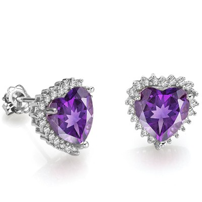 LOVING HEART AMETHYST & GENUINE WHITE DIAMOND 0.925 STERLING SILVER EARRINGS