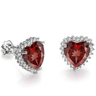 GREAT 4.21 CT GARNET WITH DOUBLE GENUINE DIAMONDS 0.925 STERLING SILVER W/ PLATINUM EARRINGS