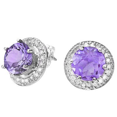 GLAMOROUS 1.51 CT AMETHYST DOUBLE WHITE DIAMOND 0.925 STERLING SILVER W/ PLATINUM EARRINGS