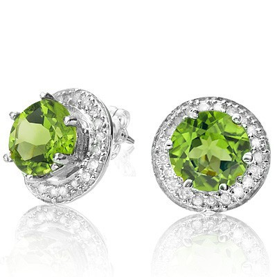 STUNNING 1.79 CT GREEN PERIDOT WITH DOUBLE GENUINE DIAMONDS 0.925 STERLING SILVER W/ PLATINUM EARRINGS