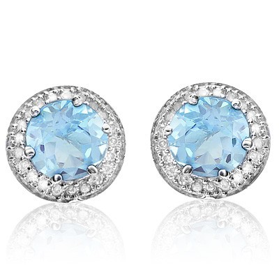 FABULOUS 1.94 CT SKY BLUE TOPAZ DOUBLE WHITE DIAMOND 0.925 STERLING SILVER W/ PLATINUM EARRINGS
