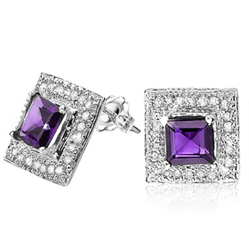 LOVELY 1.30 CT GUNUINE AMETHYST DOUBLE WHITE DIAMOND 0.925 STERLING SILVER W/ PLATINUM EARRINGS