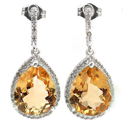 ALLURING 10.11 CARAT TW CITRINE & GENUINE DIAMOND PLATINUM OVER 0.925 STERLING SILVER EARRINGS