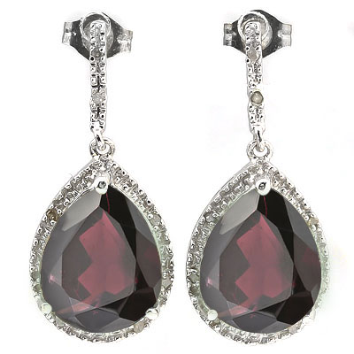 CLASSIC 13.61 CARAT TW (18 PCS) GARNET & GENUINE DIAMOND PLATINUM OVER 0.925 STERLING SILVER EARRINGS