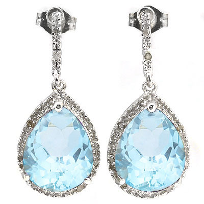 BEAUTIFUL 13.61 CARAT TW BLUE GEMSTONE & GENUINE DIAMOND PLATINUM OVER 0.925 STERLING SILVER EARRINGS