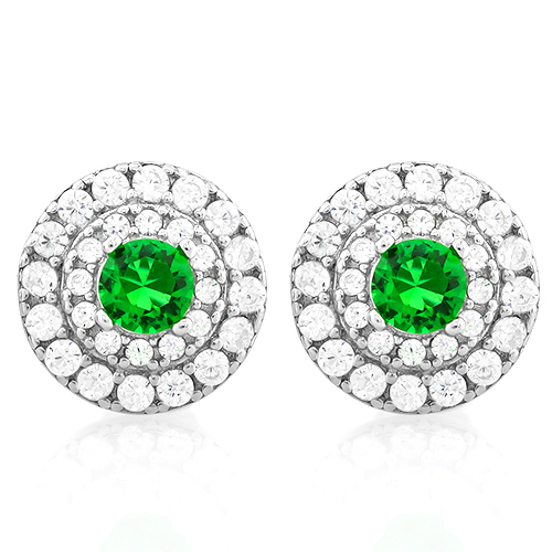 Charming 3 4 Carat Created Emerald 1 2 56 Pcs Flawless Diamond 925 Sterling Silver Earrings