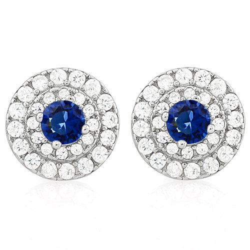 Brilliant 3 4 Carat Created Blue Shire 1 2 56 Pcs Flawless Diamond 925 Sterling Silver Earrings