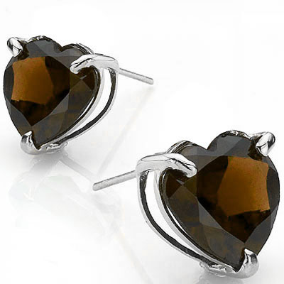 CLASSIC 0.88 CARAT TW (2 PCS) SMOKEY TOPAZ PLATINUM OVER 0.925 STERLING SILVER EARRINGS