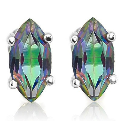 BRILLIANT 4 CT MYSTIC GEMSTONE 0.925 STERLING SILVER W/ PLATINUM EARRINGS