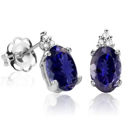 PRETTY IOLITE & TRIPLE GENUINE WHITE DIAMONDS PURE STERLING SILVER EARRINGS