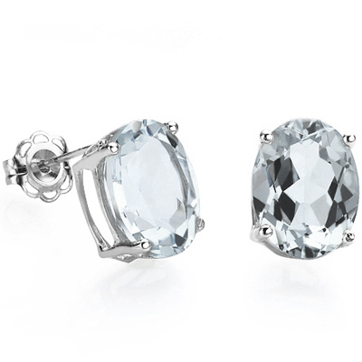 ELITE 1.31 CARAT TW (2 PCS) AQUAMARINE PLATINUM OVER 0.925 STERLING SILVER EARRINGS