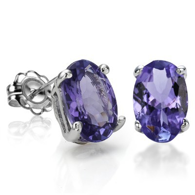 MARVELOUS! CHARMING 3.00 CT GENUINE TANZANITE 0.925 STERLING SILVER W/ PLATINUM EARRINGS