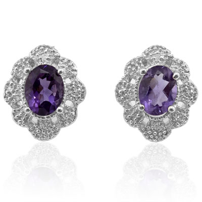 BEAUTIFUL 2.36 CARAT TW AMETHYST & GENUINE DIAMOND PLATINUM OVER 0.925 STERLING SILVER EARRINGS