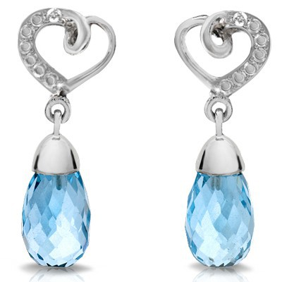 BEAUTIFUL! DROP SKY BLUE TOPAZ & GENUINE DIAMOND 0.925 STERLING SILVER W/ PLATINUM EARRINGS