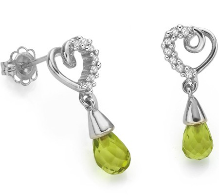 PETITE 1.63 CT GREEN PERIDOT DOUBLE WHITE DIAMOND 0.925 STERLING SILVER W/ PLATINUM EARRINGS