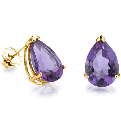 ALLURING 0.85 CARAT TW (2 PCS) AMETHYST 24K GOLD PLATED SILVER EARRINGS