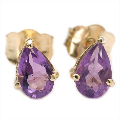 CLASSIC 1.40 CT AMETHYST &  24K GOLD PLATED SILVER EARRINGS