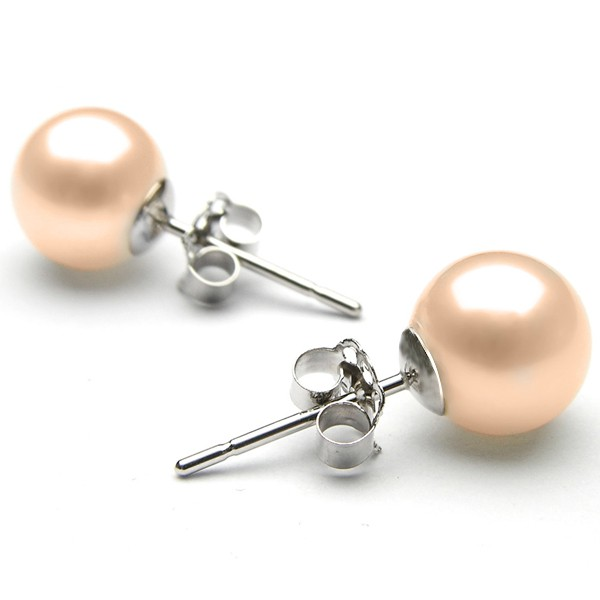 SMOOTH DE LACREAMA 8 MM NATURAL FRESHWATER PEARL 0.925 STERLING SILVER EARRINGS