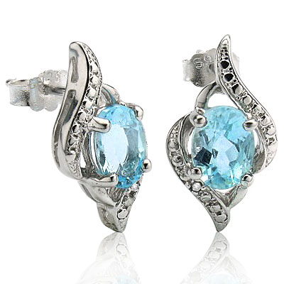 PERFECT 2.00 CT BLUE TOPAZ WITH DOUBLE DIAMONDS 0.925 STERLING SILVER W/ PLATINUM EARRINGS