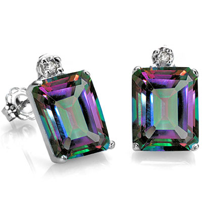 BEAUTIFUL 0.86 CT MYSTIC GEMSTONE WITH DOUBLE DIAMONDS 0.925 STERLING SILVER W/ PLATINUM EARRINGS