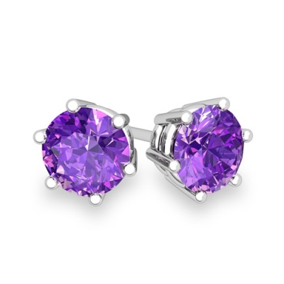 ASTONISHING 8MM 3.43 CARAT TW (2 PCS) AMETHYST PLATINUM OVER 0.925 STERLING SILVER EARRINGS