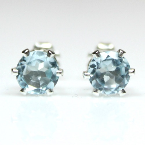 BRILLIANT 8MM 4.72 CARAT TW  BLUE TOPAZ PLATINUM OVER 0.925 STERLING SILVER EARRINGS
