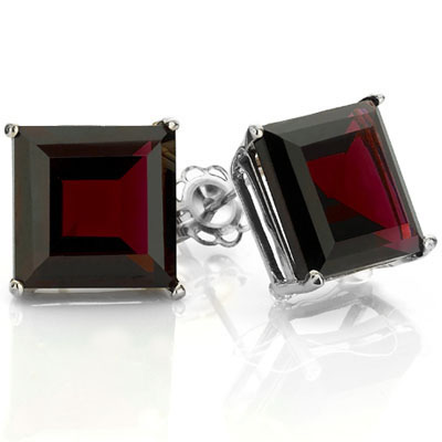 ELEGANT 2.67 CARAT TW (2 PCS) GARNET PLATINUM OVER 0.925 STERLING SILVER EARRINGS