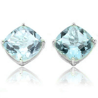 CHARMING 7.6 CARAT  BLUE TOPAZ PLATINUM OVER 0.925 STERLING SILVER EARRINGS