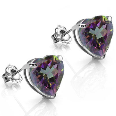 BEAUTIFUL 1.3 CARAT TW MYSTIC GEMSTONE PLATINUM OVER 0.925 STERLING SILVER EARRINGS