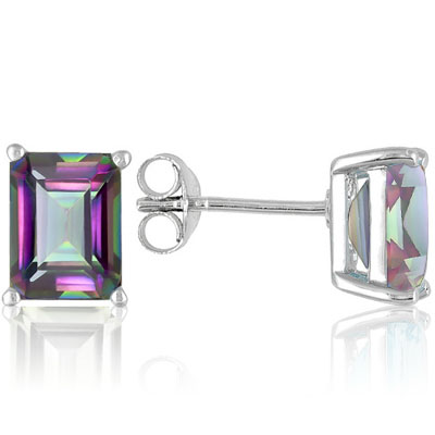 PERFECT 1.24 CARAT TW MYSTIC GEMSTONE PLATINUM OVER 0.925 STERLING SILVER EARRINGS