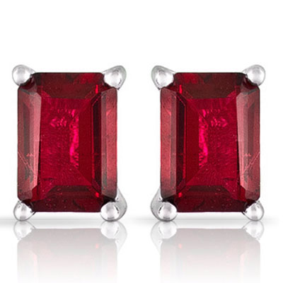 CLASSIC 2.95 CT GENUINE RUBY PLATINUM OVER 0.925 STERLING SILVER EARRINGS