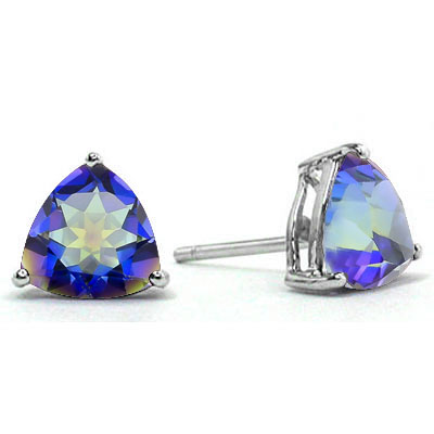 BEAUTIFUL 1.95 CARAT TW (2 PCS) BLUE MYSTIC GEMSTONE PLATINUM OVER 0.925 STERLING SILVER EARRINGS