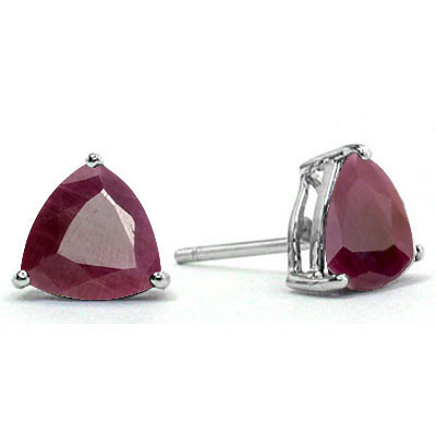 AMAZING 1.97 CARAT GENUINE RUBY PLATINUM OVER 0.925 STERLING SILVER EARRINGS