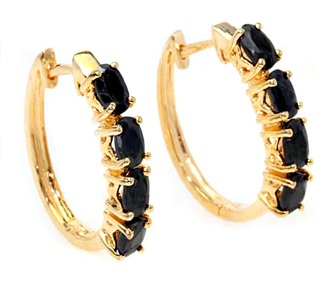 CHARMING 3 CARAT GENUINE BLACK SAPPHIRE 24K GOLD PLATED SILVER EARRINGS