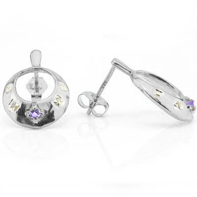 EXCELLENT 0.11 CARAT TW (6 PCS) AMETHYST & GENUINE DIAMOND PLATINUM OVER 0.925 STERLING SILVER EARRINGS