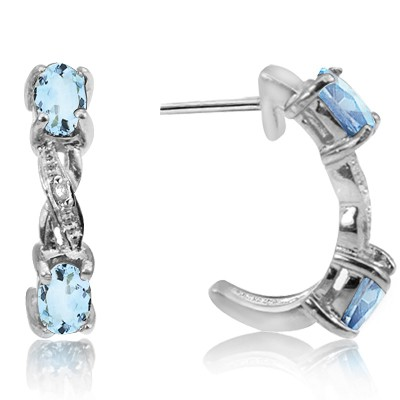 STYLISH SKY BLUE TOPAZ & DOUBLE WHITE DIAMOND 0.925 STERLING SILVER W/ PLATINUM EARRINGS