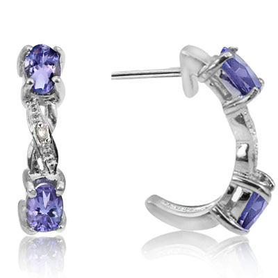 EYE-CATCHING! GENUINE BLUE TANZANITE DOUBLE WHITE DIAMOND 0.925 STERLING SILVER W/ PLATINUM EARRINGS