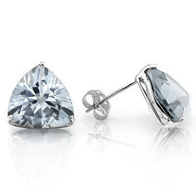 BEAUTIFUL 0.82 CARAT TW AQUAMARINE PLATINUM OVER 0.925 STERLING SILVER EARRINGS