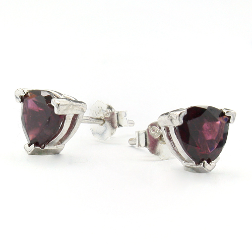 ALLURING 1.24 CARAT TW (2 PCS) GARNET PLATINUM OVER 0.925 STERLING SILVER EARRINGS