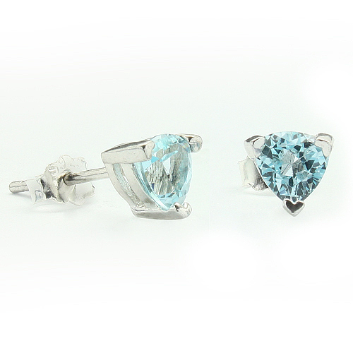 ASTONISHING 1.12 CARAT TW (2 PCS) BLUE TOPAZ PLATINUM OVER 0.925 STERLING SILVER EARRINGS