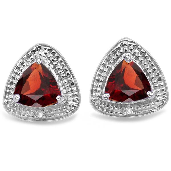 EXQUISITE 3.1 CARAT GARNET & DOUBLE GENUINE DIAMONDS PLATINUM OVER 0.925 STERLING SILVER EARRINGS